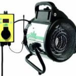Produktbild - die elektrische Gewächshausheizung Palma und der dazugehörige Thermocontroller von BioGreen aus der frontalen perspektive