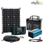 Der komplette Lieferumfang der XS-Master 50W - Photovoltaikpaneel, Kabel, Akku, Bedieneinheit, Wechselrichter, Polklemmen und diverse Kabel