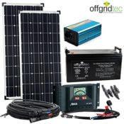 Produktbild - Der gesamte Lieferumfang der Solar Gewächshausheizung Autark M-Master 200W - 2x Photovoltaikpaneele, Wechselrichter, Kabel, Akkumulator, Bedieneinheit und diverse Verbindungsstücke