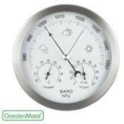Analoge Wetterstation - 3 in 1 - Edelstahlrahmen - 14 cm Durchmesser - Barometer Thermometer Hygrometer