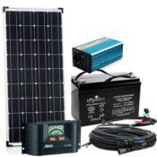 Der komplette Lieferumfang der Autark S-Master 100W - Solarpaneel, Bedieneinheit, Wechselrichter, Akku und diverse Kabel