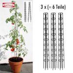 Rundsäulenförmiger Tomatenturm 3x - 180 cm hoch - Gesamtansicht - ein Turm besteht aus zwei Teilen
