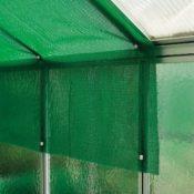 Ein im Gewächshaus angebrachtes Schattiernetz - befestigt mit Clips - Komplettset mit 200 x 300 cm Netz und 25 Clips